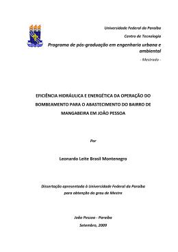Eficiência hidráulica e energética da operação do