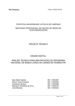 Projeto PNBL (Plano Nacional de Banda Larga)