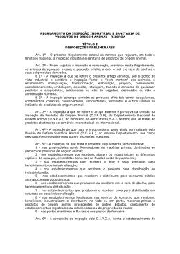 REGULAMENTO DA INSPEÇÃO INDUSTRIAL E SANITÁRIA DE