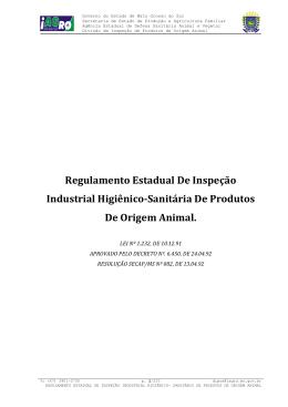 Regulamento Estadual De Inspeção Industrial Higiênico
