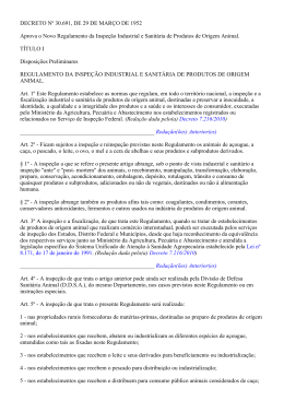 RIISPOA – Decreto nº 30.691, de 29 de março de 1952.