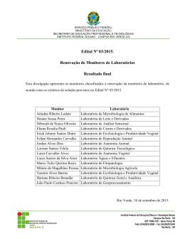 Resultado do Edital 004/2015
