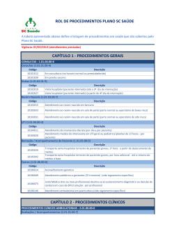 ROL DE PROCEDIMENTOS PLANO SC SAÚDE CAPÍTULO 1