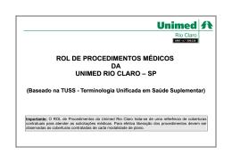ROL DE PROCEDIMENTOS MÉDICOS DA UNIMED RIO CLARO – SP