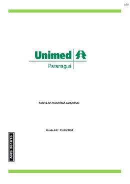 TABELA DE CONVERSÃO AMB/RPMU Versão 4.0