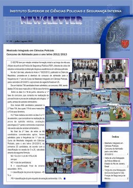 Newsletter nº 10– Jul. / Ago. 2012 - Instituto Superior de Ciências