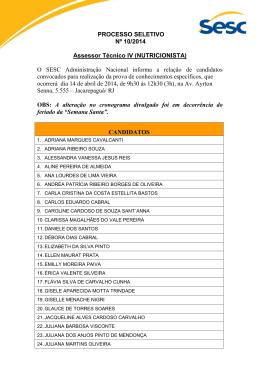 Convocação para Prova - Nutricionista. Post em 26.03.2014