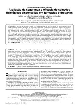 Avaliação da segurança e eficácia de soluções fisiológicas