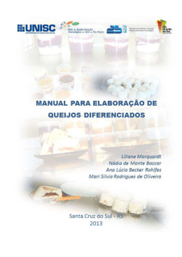 Manual para elaboração de queijos diferenciados