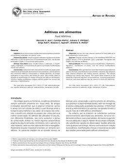 Aditivos em alimentos - ASBAI - Associação Brasileira de Alergia e