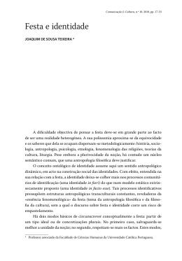 Festa e identidade - Revista Comunicação e Cultura