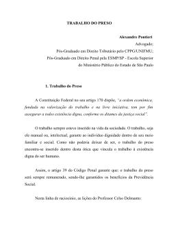 TRABALHO DO PRESO Alexandre Pontieri Advogado