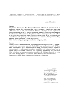 Alegoria medieval: onde se situa a poesia de Charles d` Orléans?