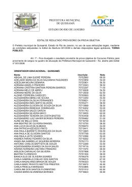 PREFEITURA MUNICIPAL DE QUISSAMÃ ESTADO DO
