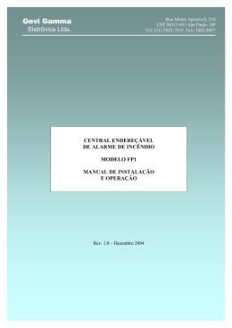 Manual de uso da Central Endereçável FP1