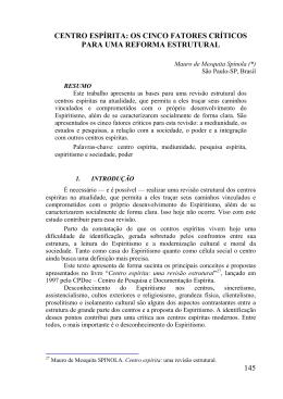 145 CENTRO ESPÍRITA: OS CINCO FATORES CRÍTICOS PARA