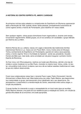 A HISTÓRIA DO CENTRO ESPÍRITA FÉ, AMOR E CARIDADE As