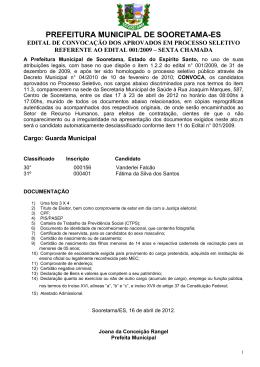 Convocação Guarda Municipal - 6ª Chamada