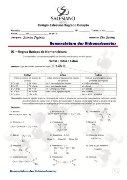 Nomenclatura dos Hidrocarbonetos