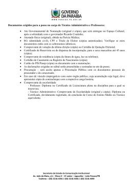 Documentos exigidos para a posse no cargo de Técnico