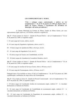 LEI COMPLEMENTAR N.º 45/2013. - Prefeitura M.fortuna de Minas