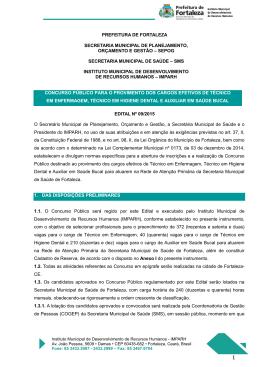 Edital 09/2015 - Prefeitura Municipal de Fortaleza