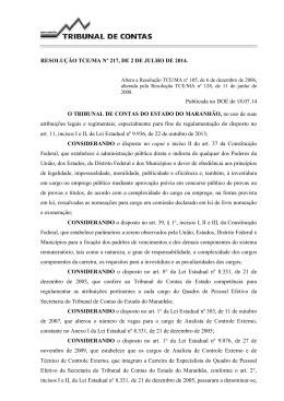 Altera a Resolução TCE/MA nº 105, de 6 de dezembro de 2006