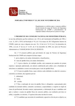 Portaria CNMP-PRESI 212.2014 - Conselho Nacional do Ministério