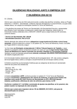 diligências realizadas junto à empresa gvp 1º diligência (dia 02/12)