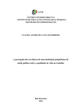 FERREIRA, Cláudia Aparecida Avelar. A PERCEPÇÃO DOS