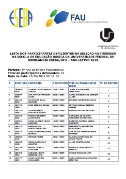 lista dos participantes deficientes na seleção ao ingresso