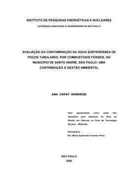 AVALIAÇÃO DA CONTAMINAÇÃO DA ÁGUA SUBTERRÂNEA DE