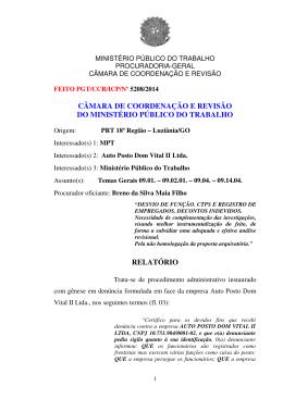 Processo PGT/CCR/nº 5208/2014 - Ministério Público do Trabalho
