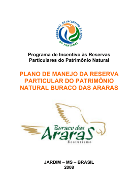 PLANO DE MANEJO DA RESERVA PARTICULAR DO