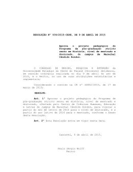 RESOLUÇÃO Nº 039/2015-CEPE, DE 9 DE ABRIL DE 2015 Aprova