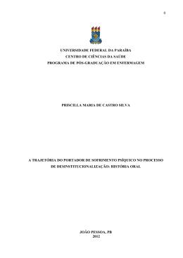 0 UNIVERSIDADE FEDERAL DA PARAÍBA CENTRO DE