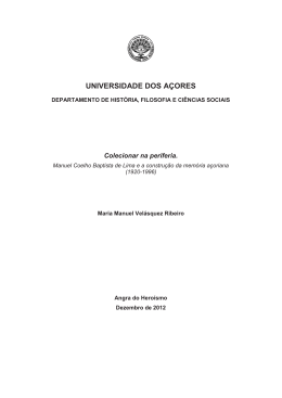 Sobre a construção da memória nos Açores: o caso Baptista de Lima