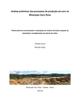 Análise preliminar dos processos de produção de ouro na