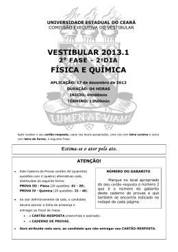 VESTIBULAR 2013.1 FÍSICA E QUÍMICA