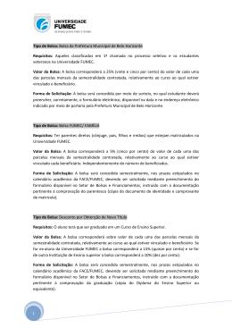 1 Tipo de Bolsa - Universidade FUMEC