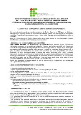 Edital Programa Andifes de Mobilidade Acadêmica