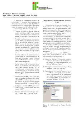 Instalação e Configuração do serviço DHCP.