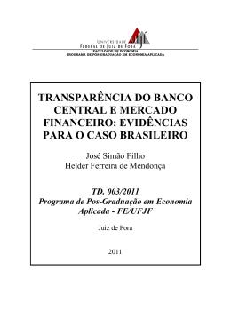 transparência do banco central e mercado financeiro