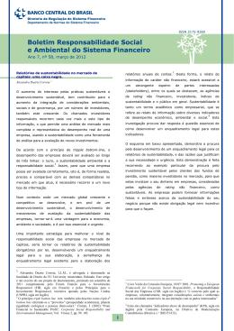 Boletim Responsabilidade Social e Ambiental do Sistema Financeiro