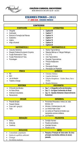 EXAMES FINAIS – 2013 - Colégio Cardeal Arcoverde