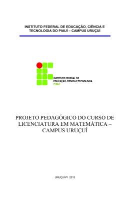 PPC - Licenciatura em Matemática - Instituto Federal de Educação