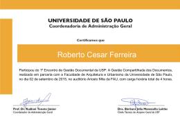 Roberto Cesar Ferreira - Universidade de São Paulo