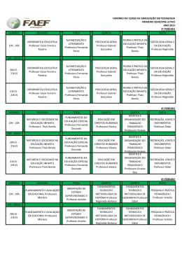 Horário de Aulas - Pedagogia 2015
