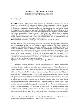 HERMENÊUTICA E CIÊNCIAS HUMANAS HERMENEUTICS AND