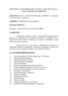 Jurisdição Civil Especial de 1ª Instância - PUC-SP